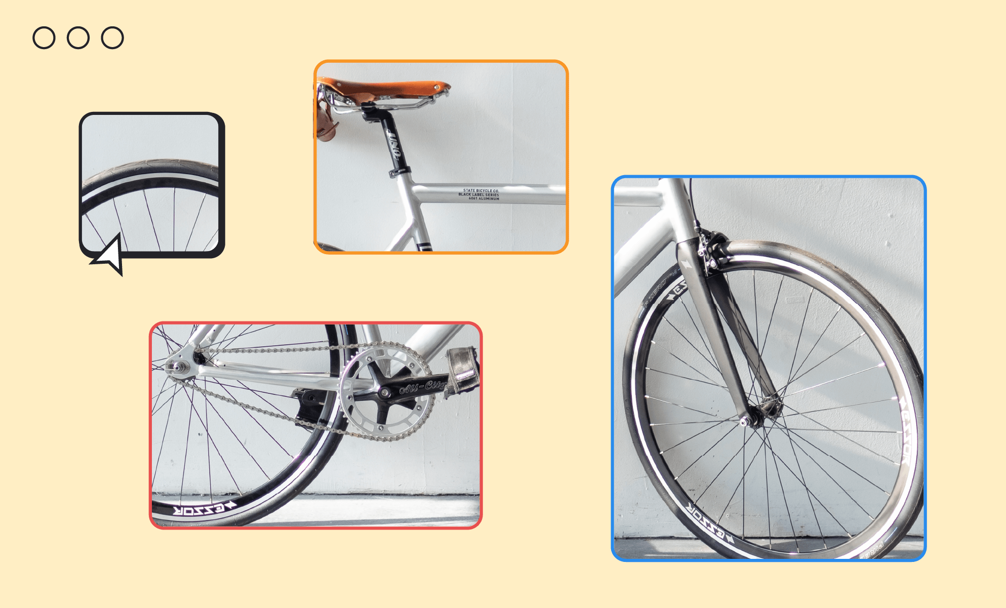 Parts of a bicycle, with close-ups of the gears, wheels, frame, and tires. BrainStorm, Inc. (Oct. 2021)