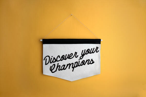 "Banner with ""Discover your Champions"" written on it"