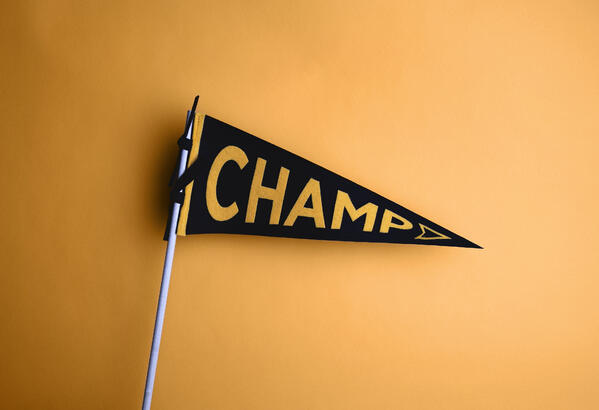 """Triangular flag with """"Champ"""" spelled on it in a blog post about champions"""