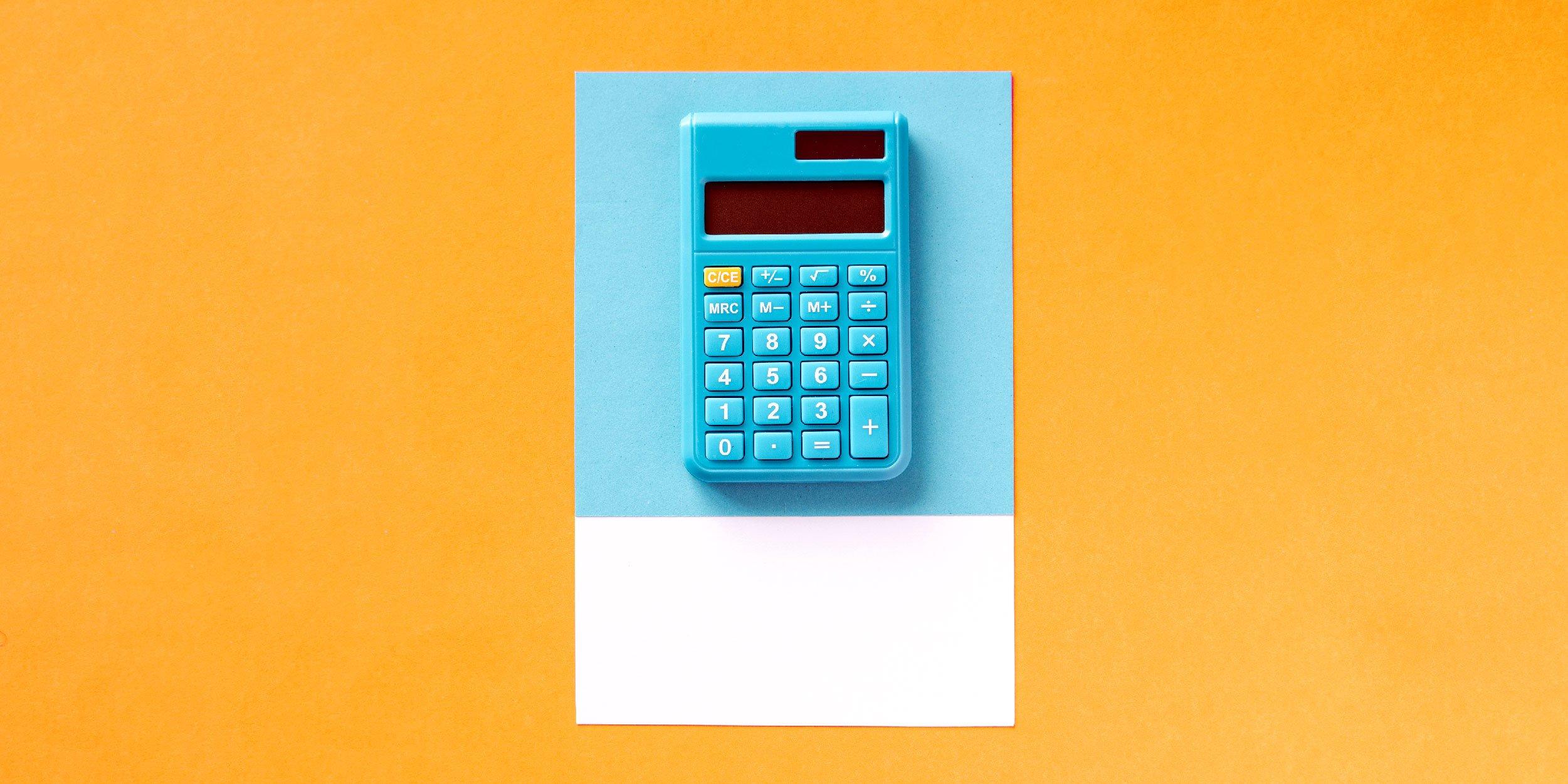 Image of a blue calculator