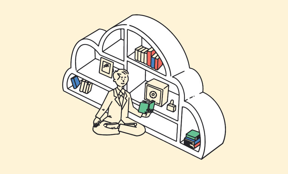 """Illustration of young man reading a book, next to a bookshelf. BrainStorm, Inc. (Oct. 2021) for """"Cybersecurity risk management: a resource roundup"""" blog"""