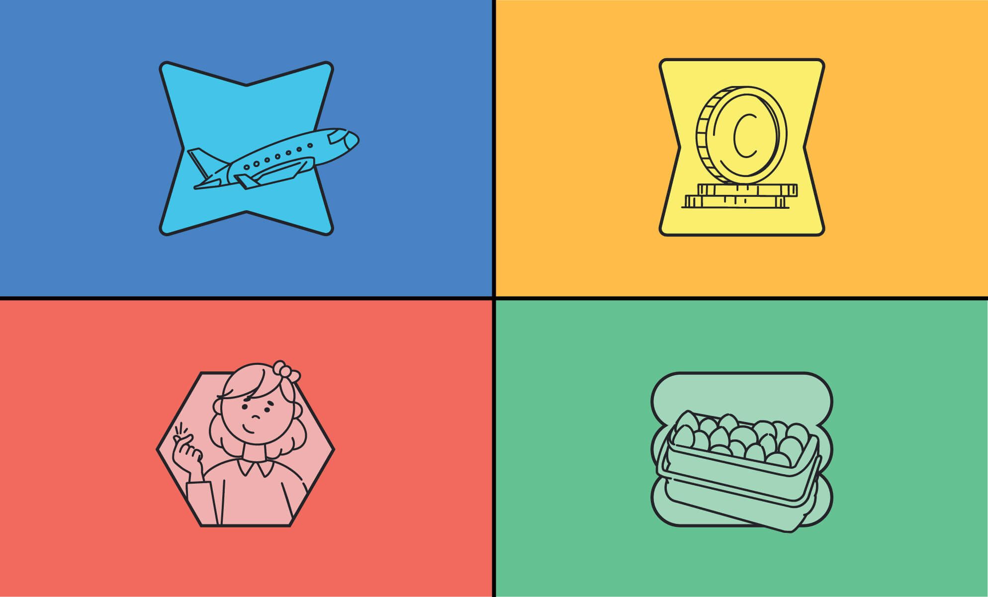 """Illustrations of airplane travel, coins (cost), girl snapping fingers (ease), and a dozen eggs (multiple options), as a header image for """"Making a case for multiple cloud services."""" Part of BrainStorm, Inc. blog post on Box vs. Dropbox, Google Drive, and Microsoft OneDrive (10/2021)"""