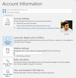 Account info tab in Microsoft Outlook