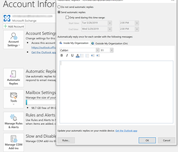 opening out of office tab in Outlook