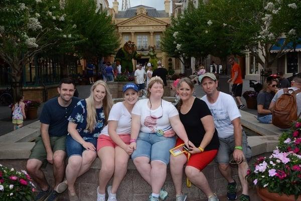 Princess Sarah, Rebecca, and their family at Disney World