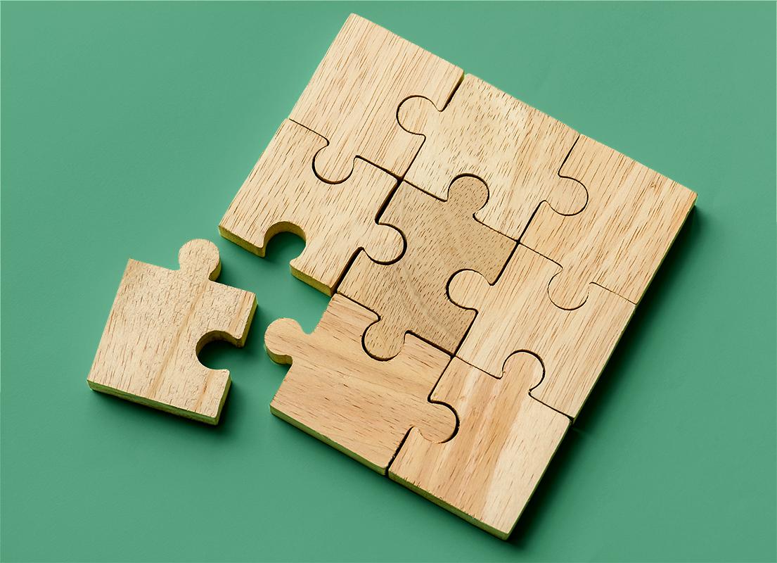 Wooden puzzles pieces