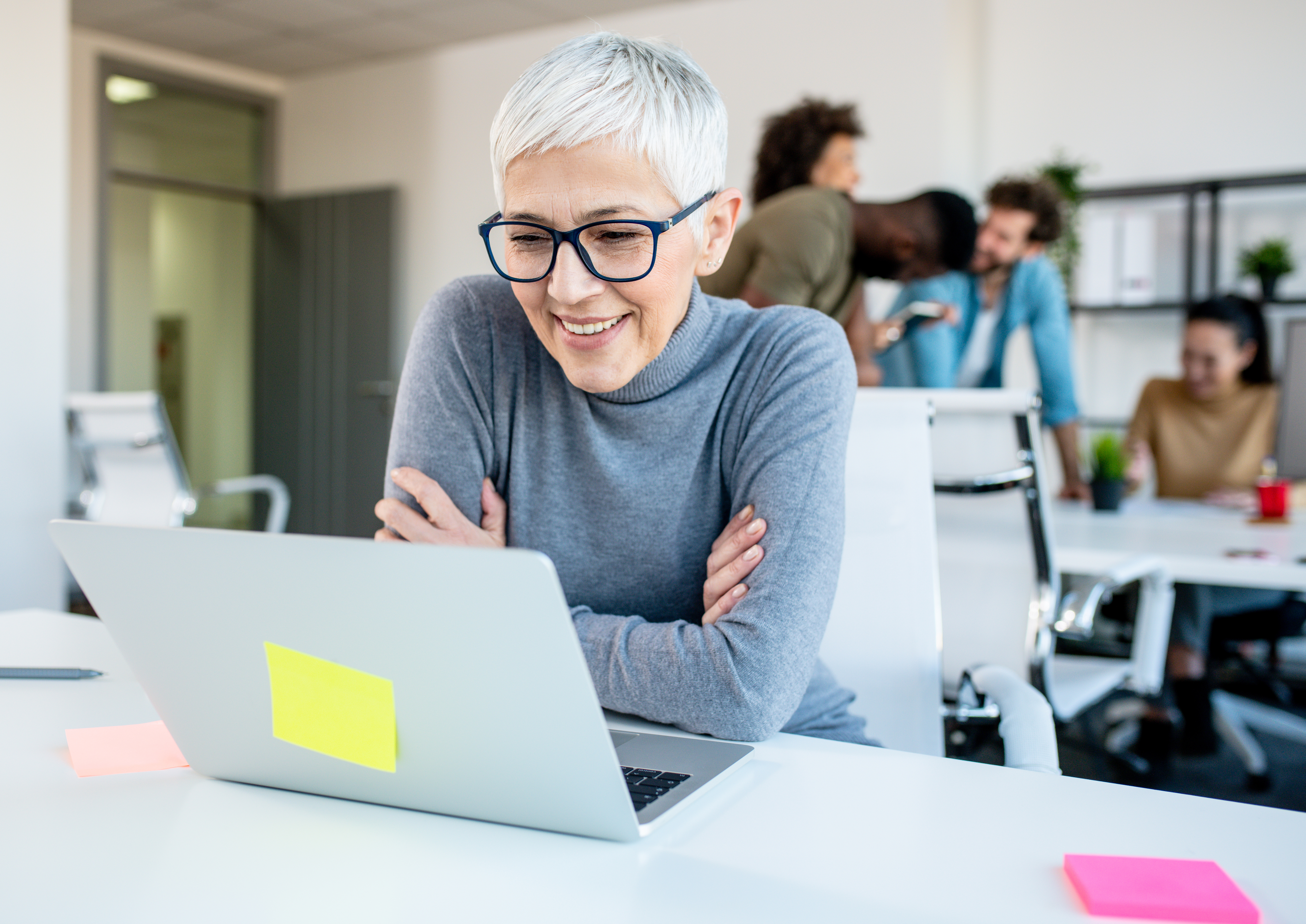 older woman taking security awareness training course
